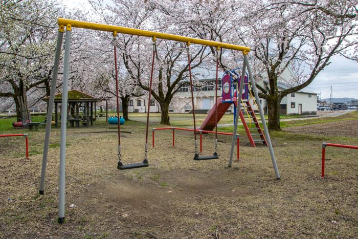 飯塚農村公園 ブランコと桜
